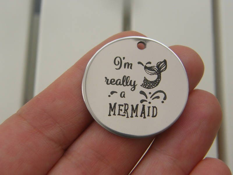1 I'm really a mermaid stainless steel pendant JS2-22