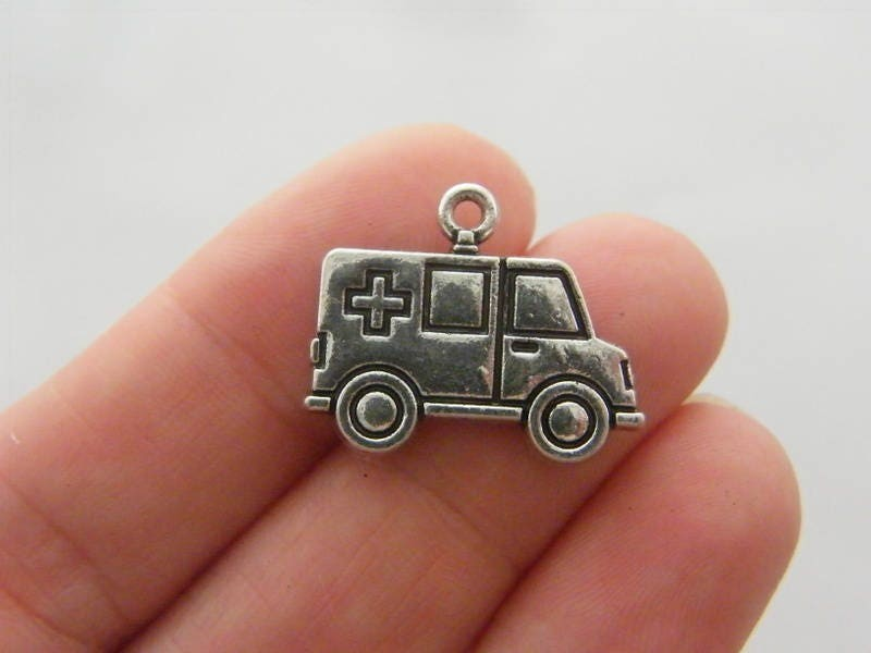 2 Ambulance charms antique silver tone MD109