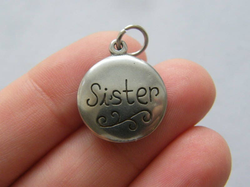 1 Sister forever charm dark silver tone stainless steel M76