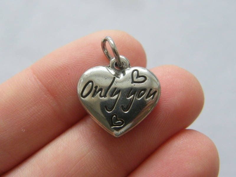 1  Only you heart charm dark silver tone stainless steel M55