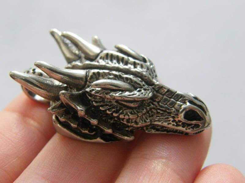 1 Dragon pendant antique silver tone stainless steel A383