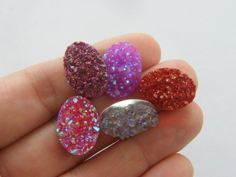 20 Shades of berry resin druzy cabochon 18 x 13mm FS216