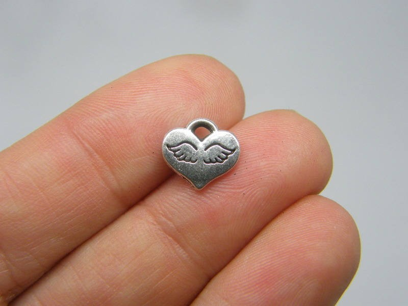 BULK 50 Angel wing heart charms antique silver tone AW109