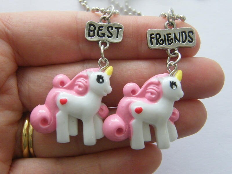 2 Unicorn best friends charms  silver tone necklaces A776