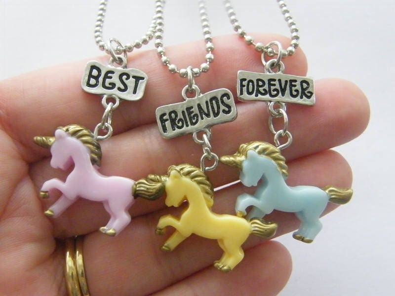 3 Unicorn best friends forever charms  silver tone necklaces A777