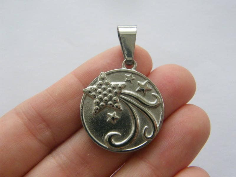 1 Stars pendant silver tone stainless steel S58
