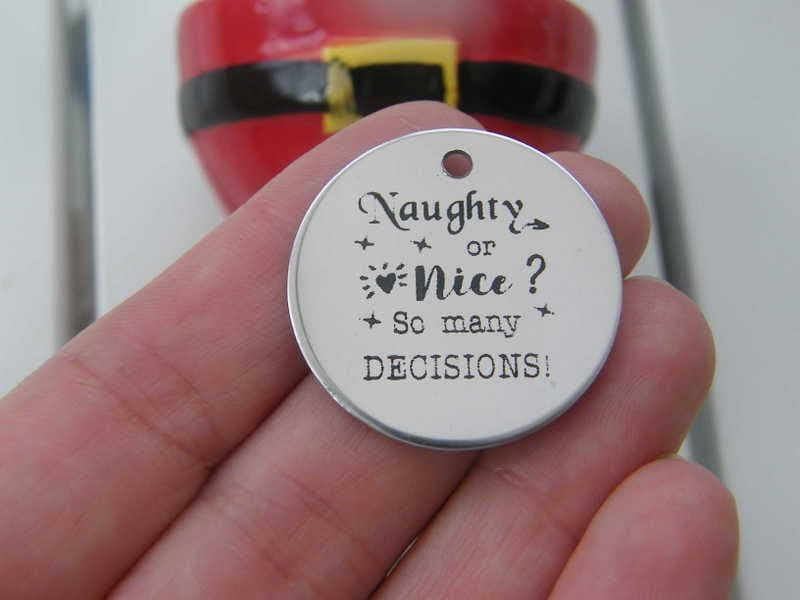 1 Naughty or nice ? So many decisions stainless steel pendant JS2-2
