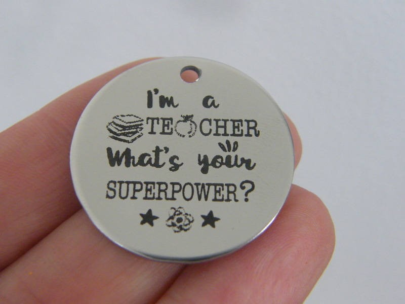 1 I'm a teacher what's your superpower ? stainless steel pendant JS1-29