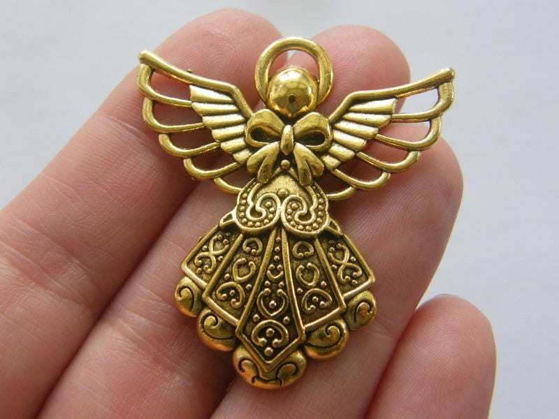 2 Angel pendants antique gold tone GC195