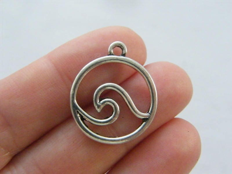 4 Wave charms antique silver tone FF78