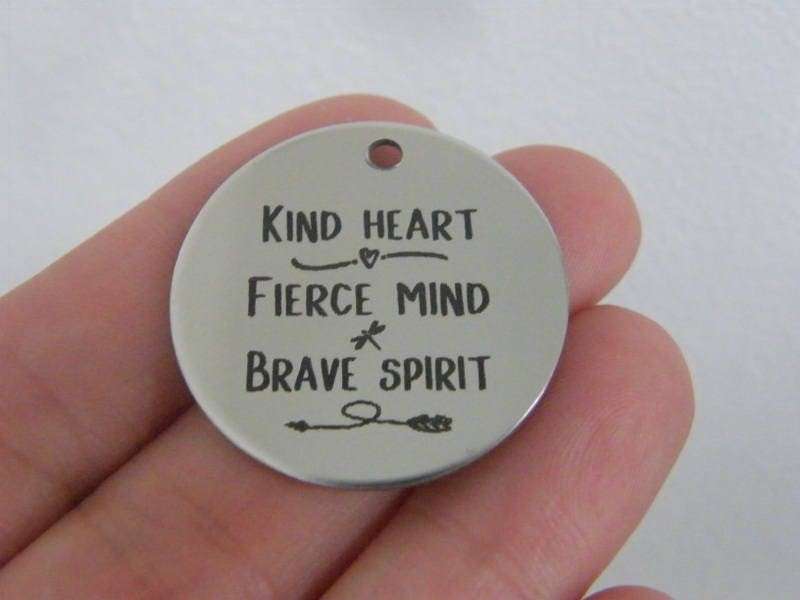 1 Kind heart fierce mind brave spirit stainless steel pendant JS1-40
