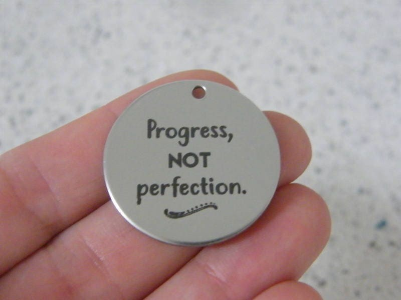 1 Progress, not perfection stainless steel pendant JS3-45
