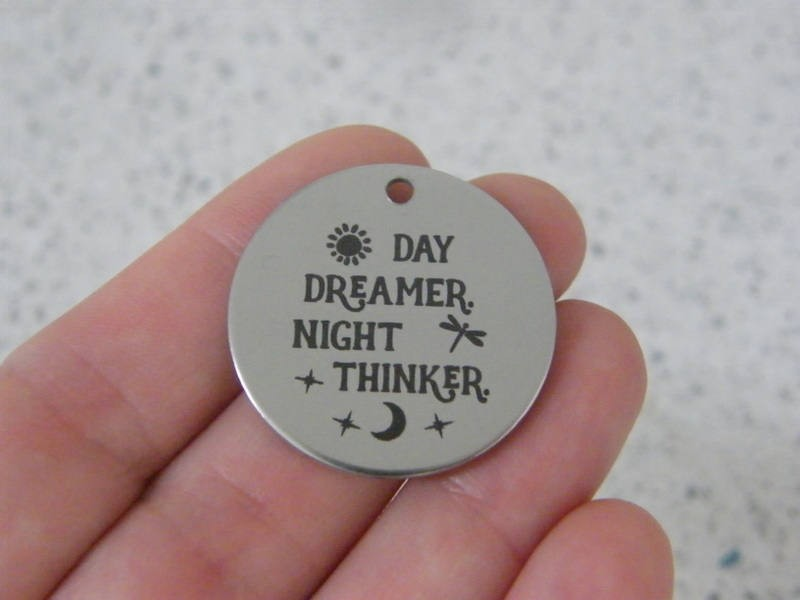1 Day dreamer. Night thinker. stainless steel pendant JS3-25