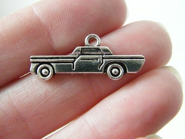 8 Car vehicle charms antique silver tone TT11