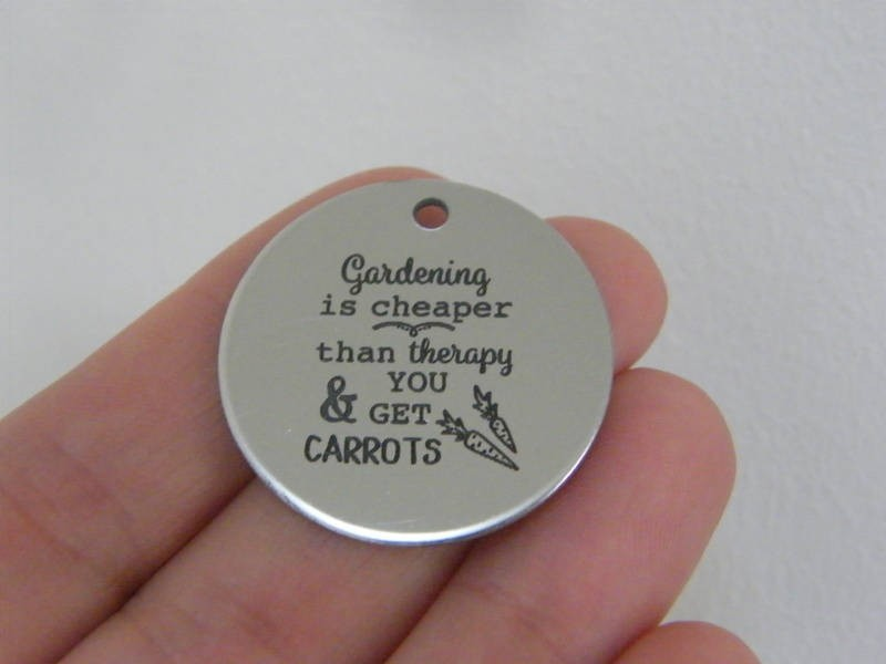 1 Gardening is cheaper than therapy & you get carrots stainless steel pendant JS4-26