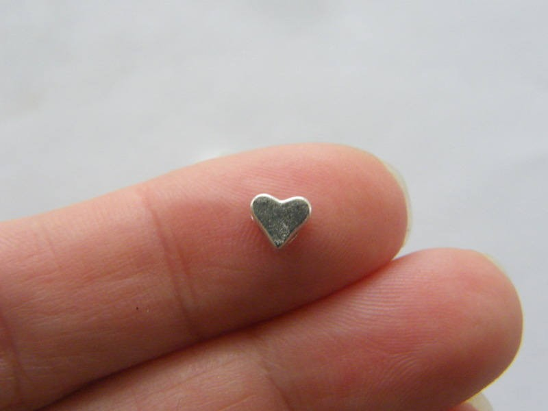 BULK 50 Heart spacer beads antique silver tone H192 - SALE 50% OFF