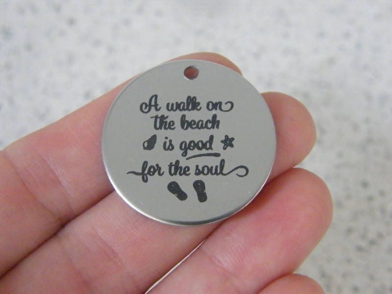 1  A walk on the beach is good for the soul stainless steel pendant JS2-46