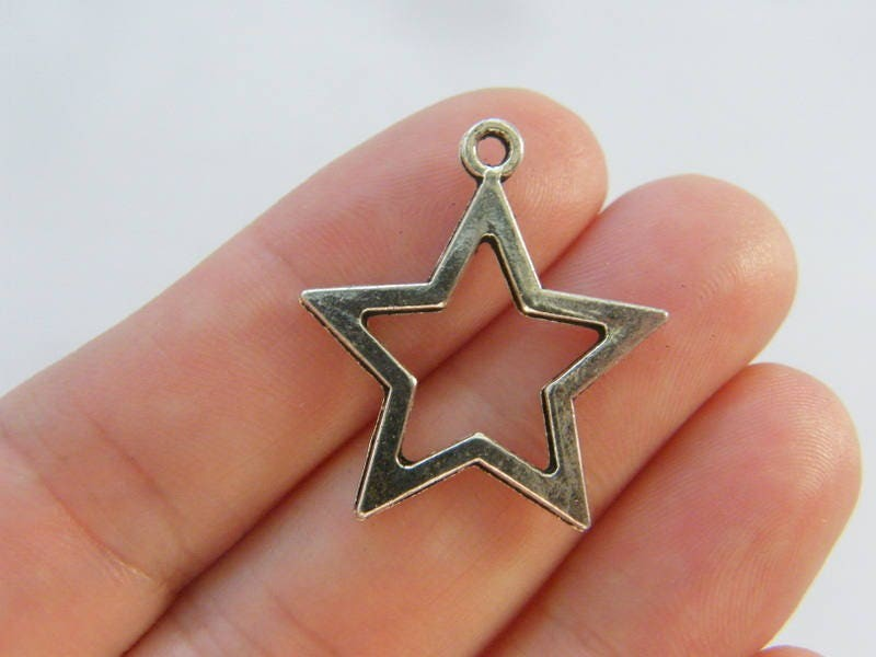 8 Star charms  antique silver tone S93