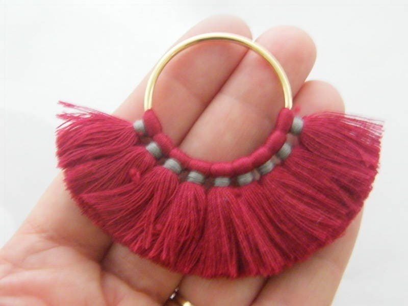 1 Wine red tassel pendant gold tone