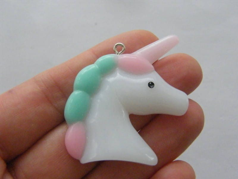2  Unicorn white pink blue purple resin pendants A775