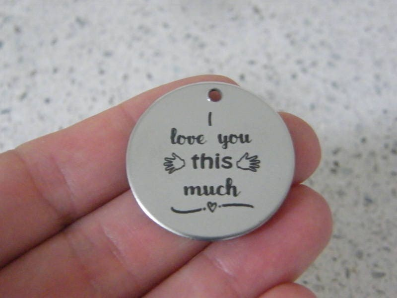 1 I love you this much stainless steel pendant JS5-15