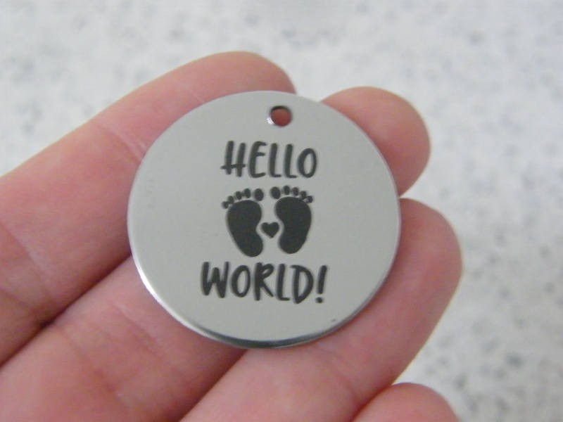 1 Hello world ! stainless steel pendant JS5-16