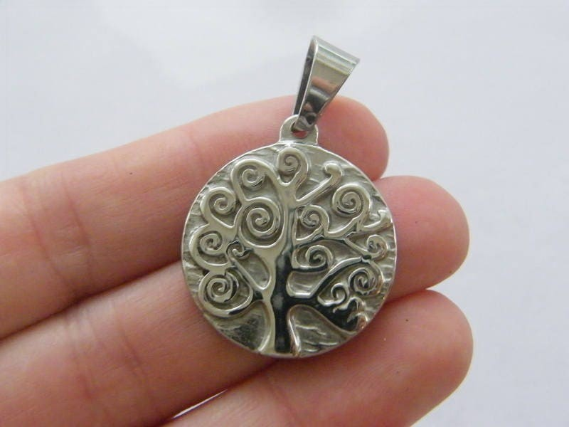 1 Tree pendant silver tone stainless steel T100