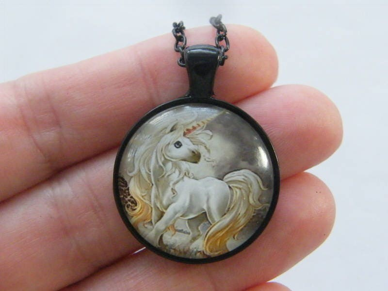 1 Unicorn pendant black tone A771