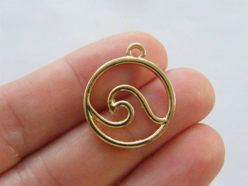 8 Wave charms gold tone FF747