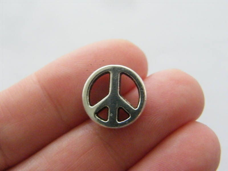 8 Peace sign spacer beads antique silver tone P213