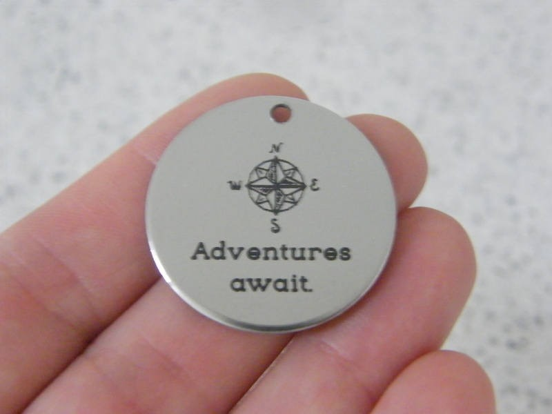 1 Adventures await stainless steel pendant JS3-31