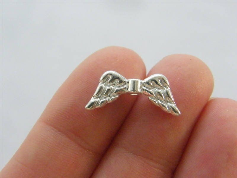 BULK 50 Angel wing spacer beads silver plated tone AW142 - SALE 50% OFF
