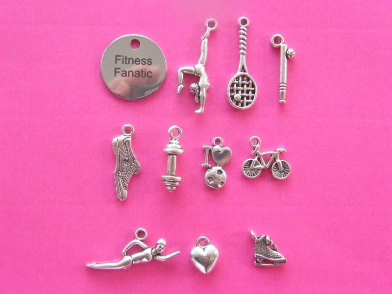 The fitness fanatic collection - 11 different antique silver tone charms
