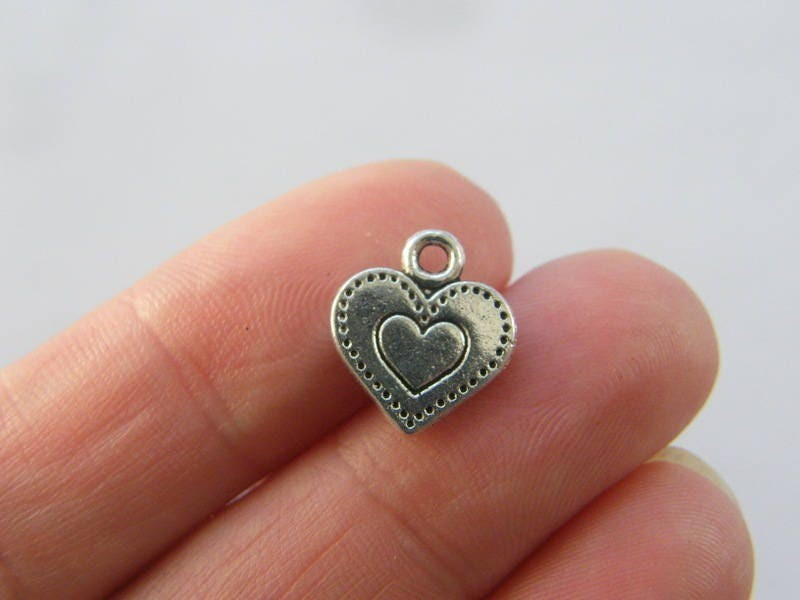 14 Heart charms antique silver tone H189