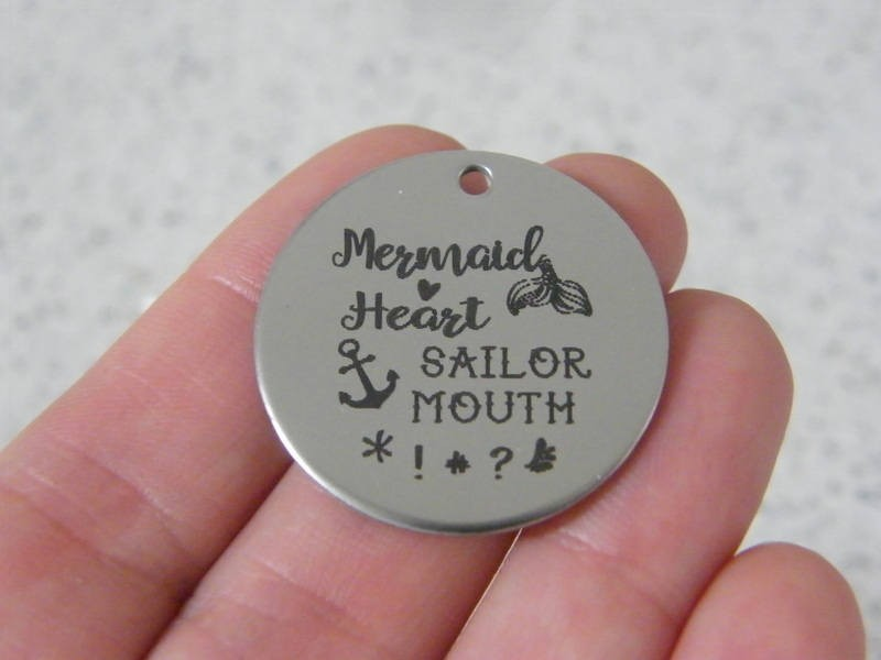 1 Mermaid heart sailor mouth stainless steel pendant JS4-33
