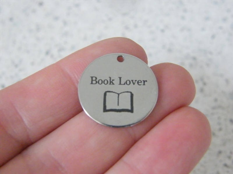 1 Book lover tag charm 20mm  stainless steel TAG9-3