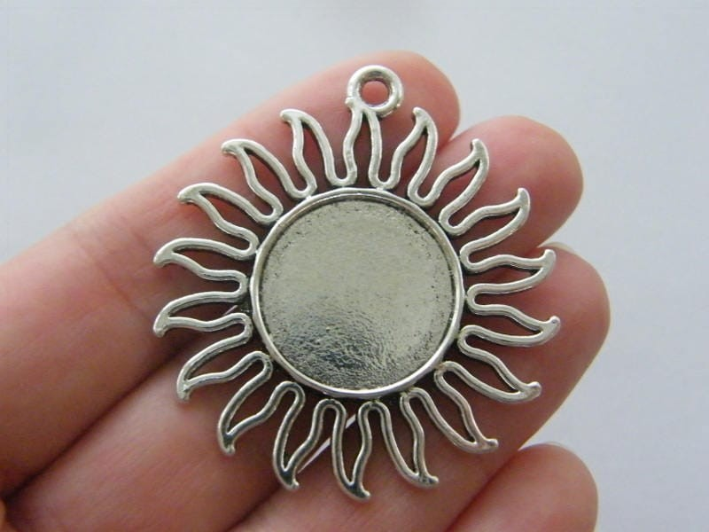 4 Sun frame cabochon pendants 46 x 42mm fits 20mm antique silver tone FS116