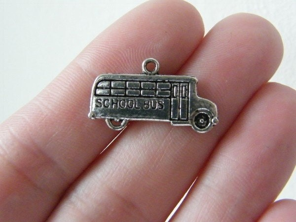 10 School bus charms antique silver tone TT55
