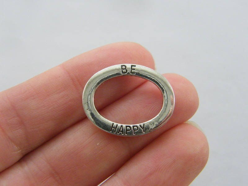 6 Be happy charms antique silver tone M147
