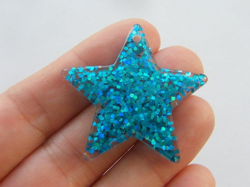 2 Star blue resin pendants S161