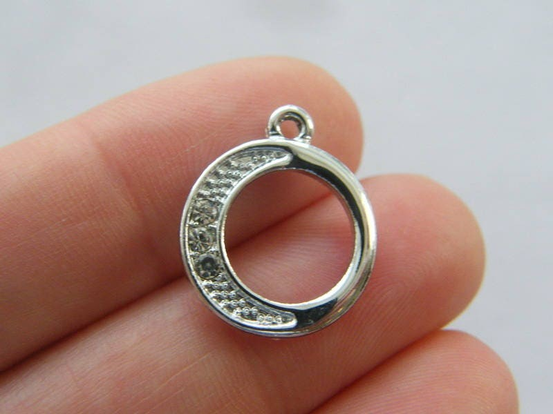4 Moon rhinestone charms silver tone M87