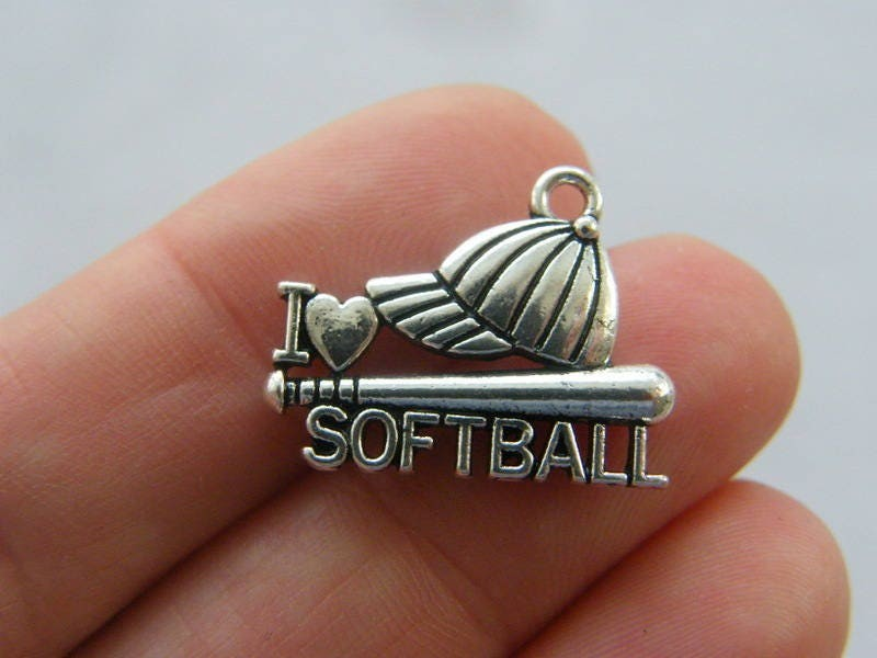 2 I love softball cap and bat charms antique silver tone SP167