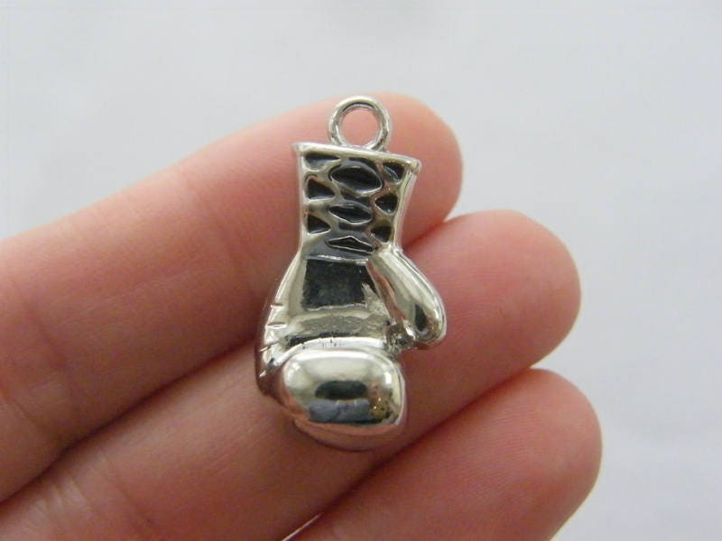 1 Boxing glove charm antique silver tone SP227