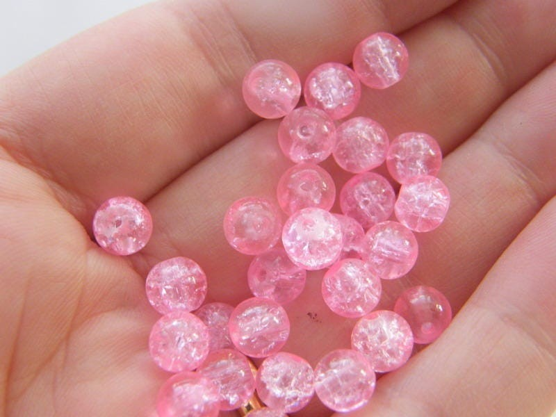 200 Pink crackle 6mm beads B159