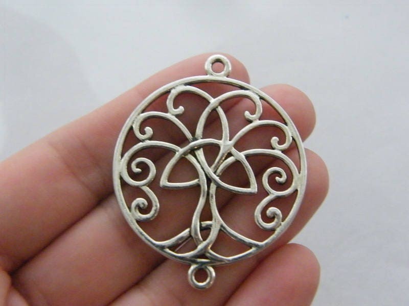 2 Celtic knot tree connector charms antique silver tone R141
