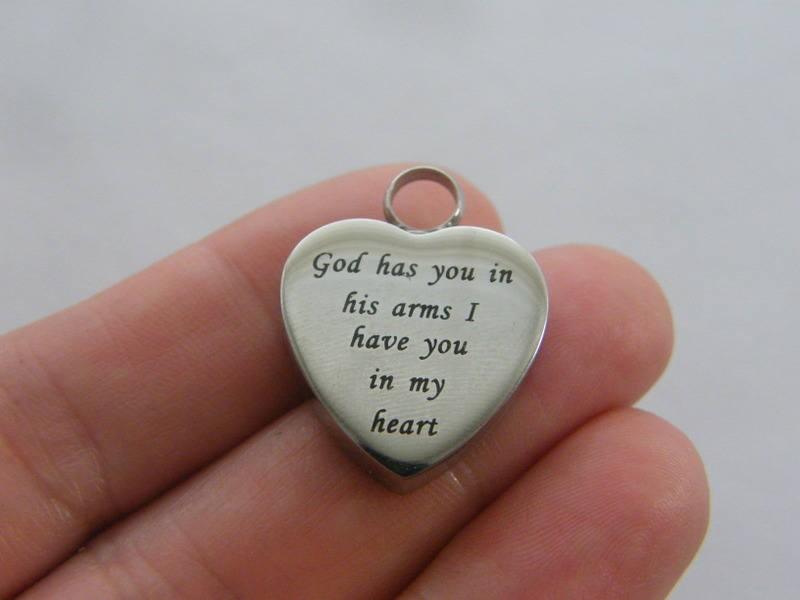 1 God has you in his arms heart urn ashes pendant titanium steel silver tone FM156