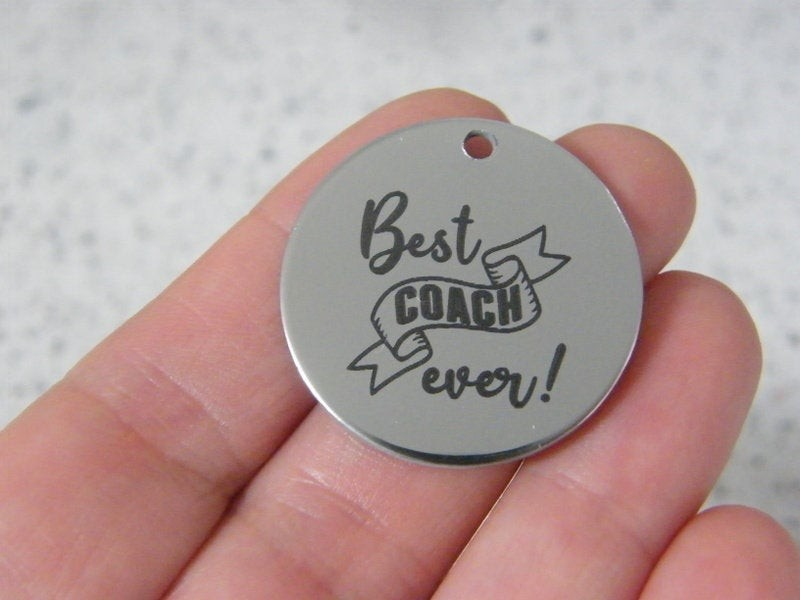 1 Best coach ever ! stainless steel pendant JS6-27
