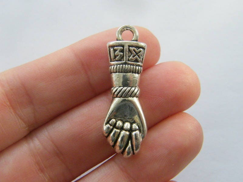 2 Hand  charm antique silver tone M223