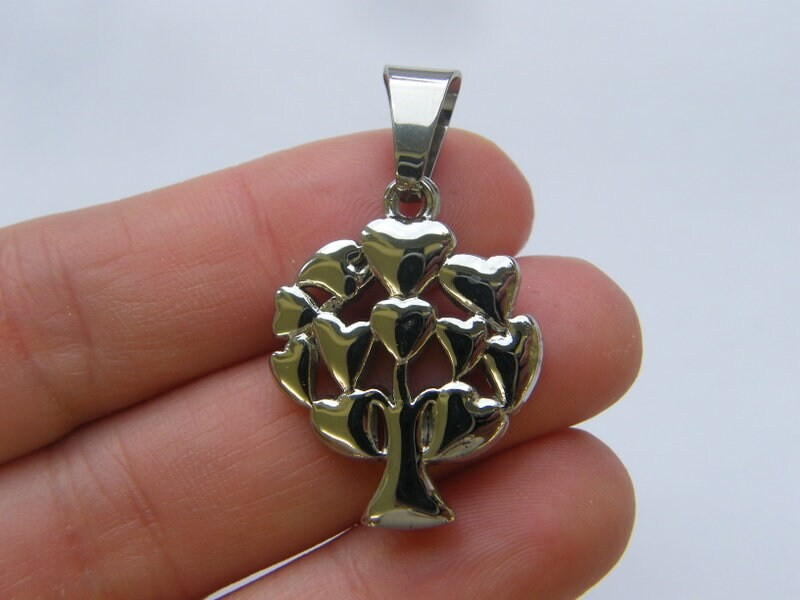 1 Tree pendant silver tone stainless steel T65