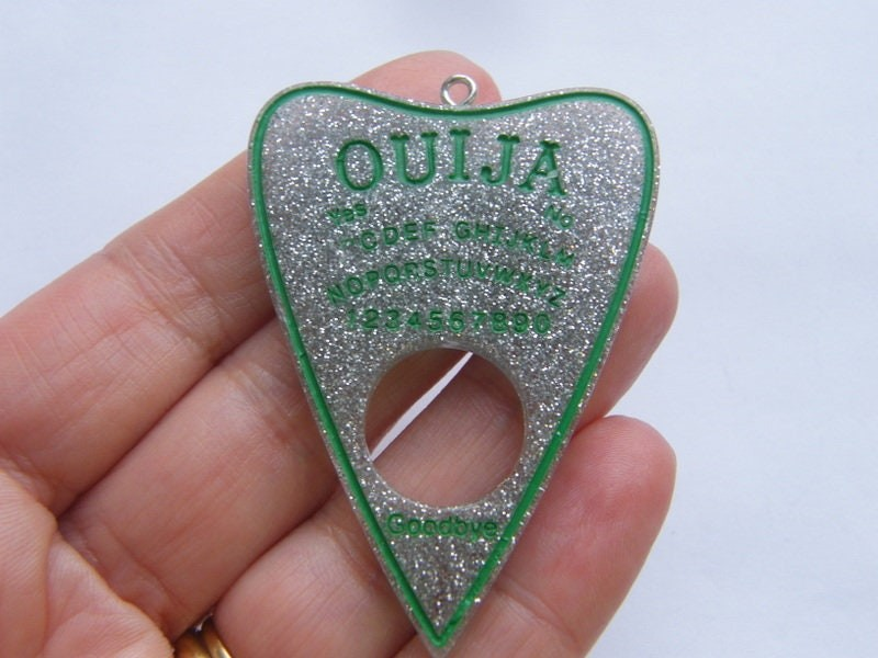 1 Ouija board pendant green resin  charm HC248